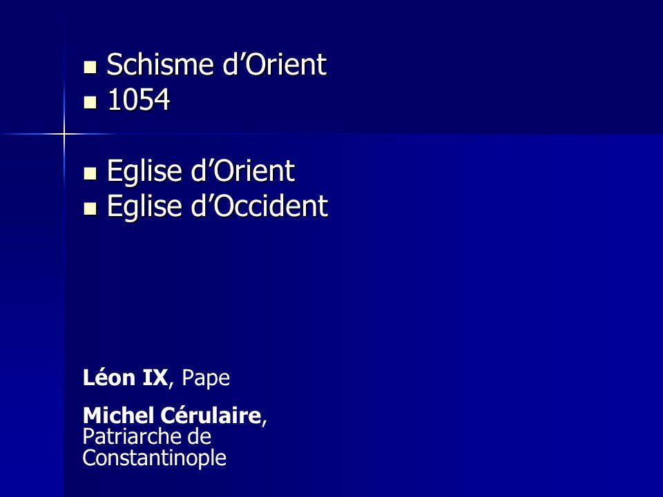 Schisme d'Orient 1054 Eglise d'Orient Eglise d'Occident Léon IX, Pape