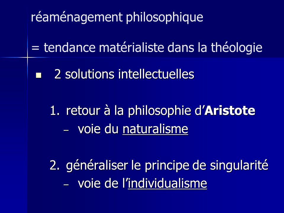 réaménagement philosophique = tendance matérialiste dans la théologie
