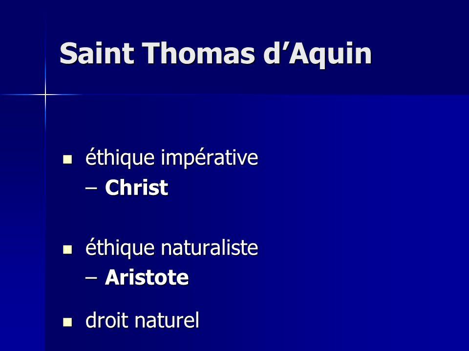 Saint Thomas d'Aquin éthique impérative Christ éthique naturaliste
