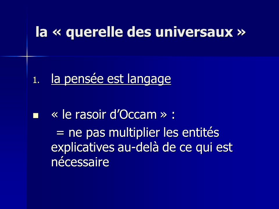 la « querelle des universaux »