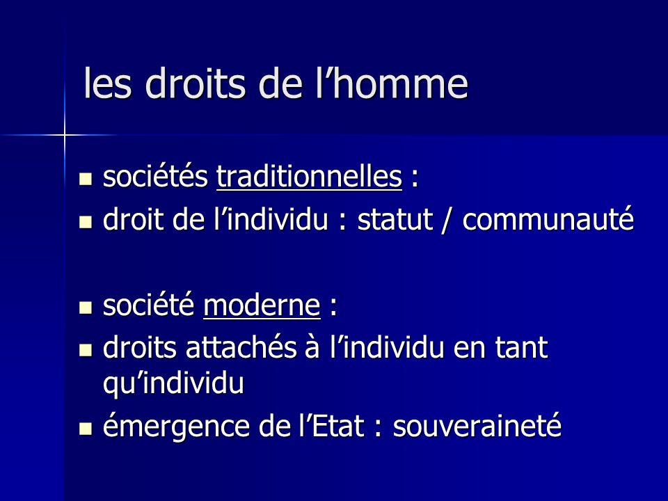 les droits de l'homme sociétés traditionnelles :