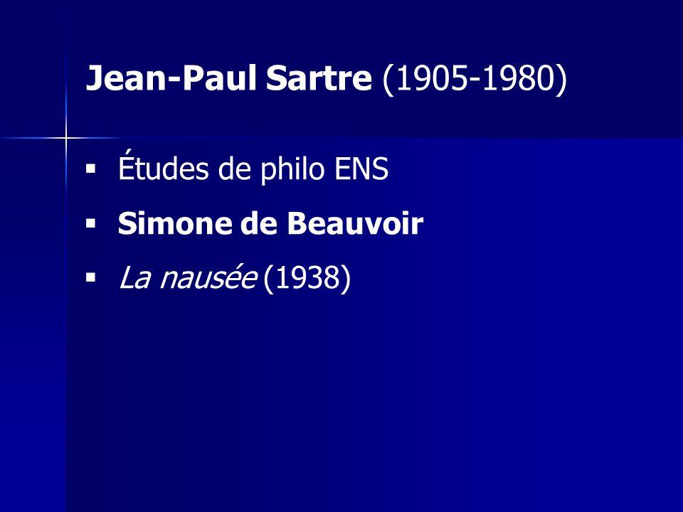 Jean-Paul Sartre (1905-1980) Études de philo ENS Simone de Beauvoir