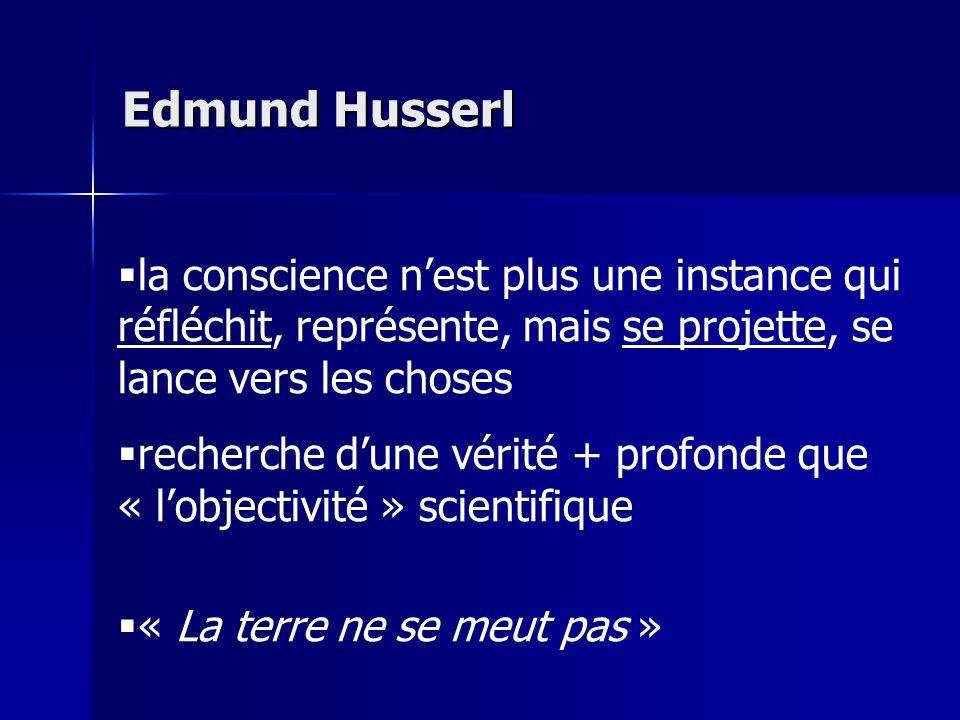 Edmund Husserl la conscience n'est plus une instance qui réfléchit, représente, mais se projette, se lance vers les choses.