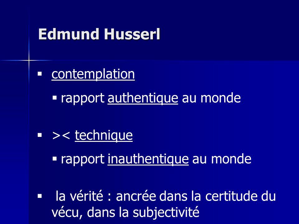 Edmund Husserl contemplation rapport authentique au monde