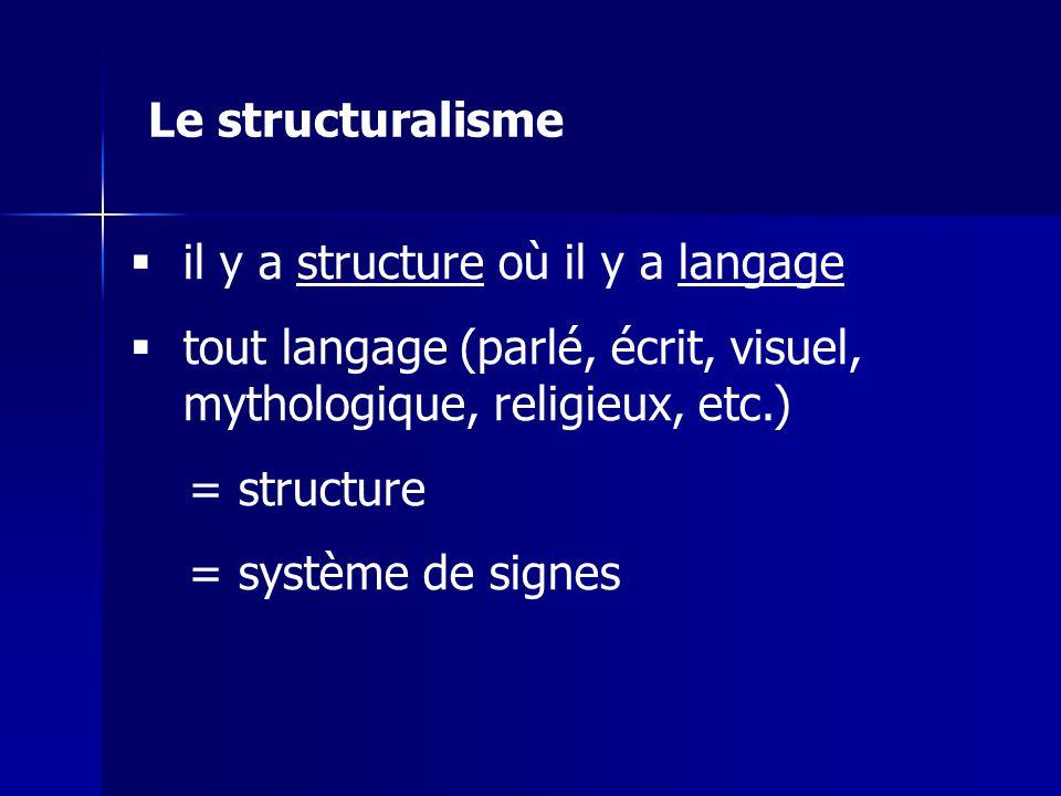 Le structuralisme il y a structure où il y a langage. tout langage (parlé, écrit, visuel, mythologique, religieux, etc.)