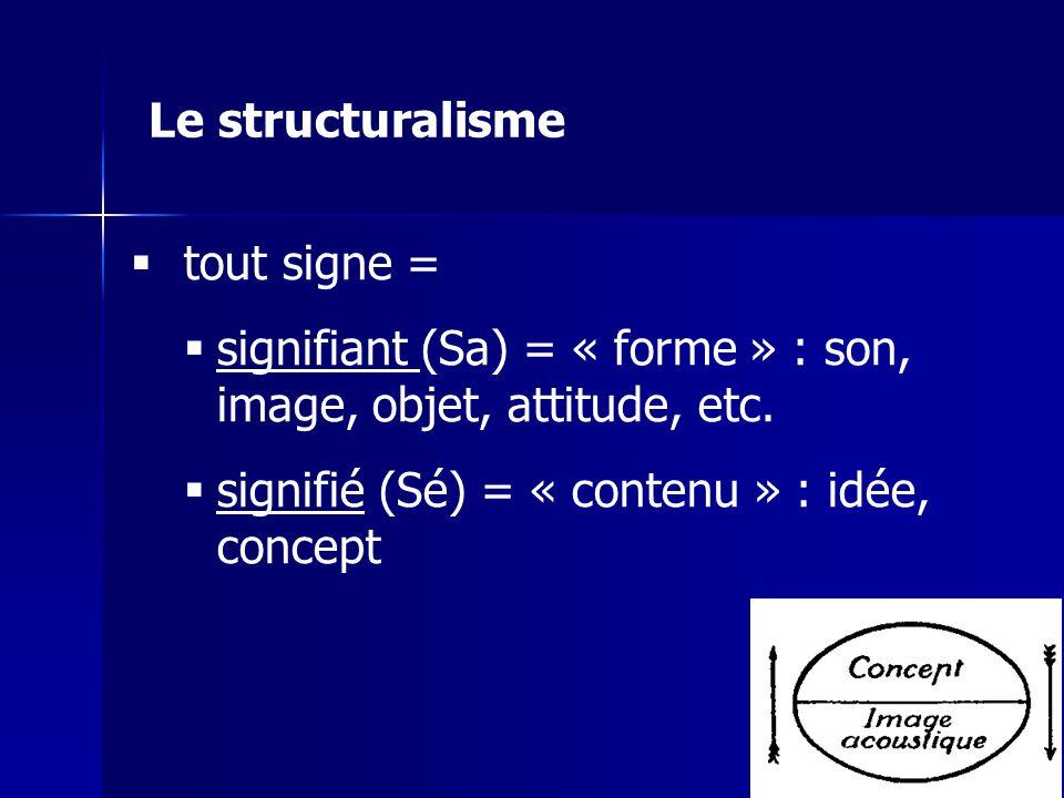 Le structuralisme tout signe = signifiant (Sa) = « forme » : son, image, objet, attitude, etc.