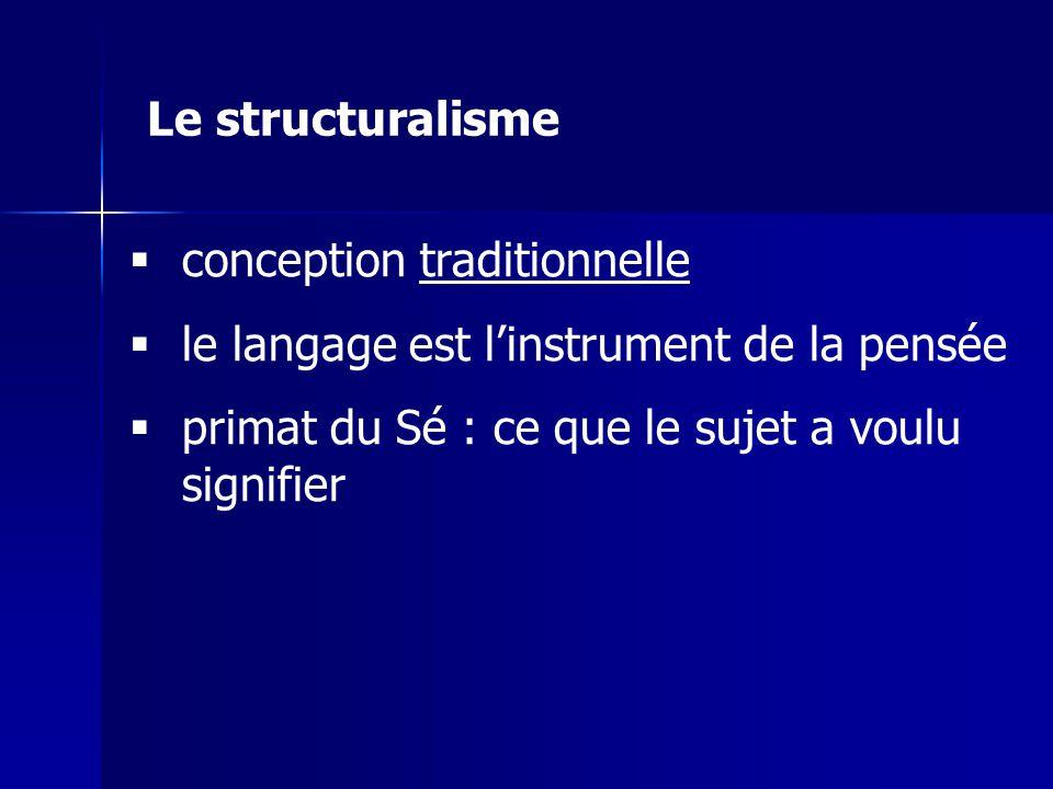 Le structuralisme conception traditionnelle. le langage est l'instrument de la pensée.