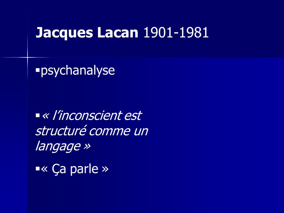 Jacques Lacan 1901-1981 psychanalyse