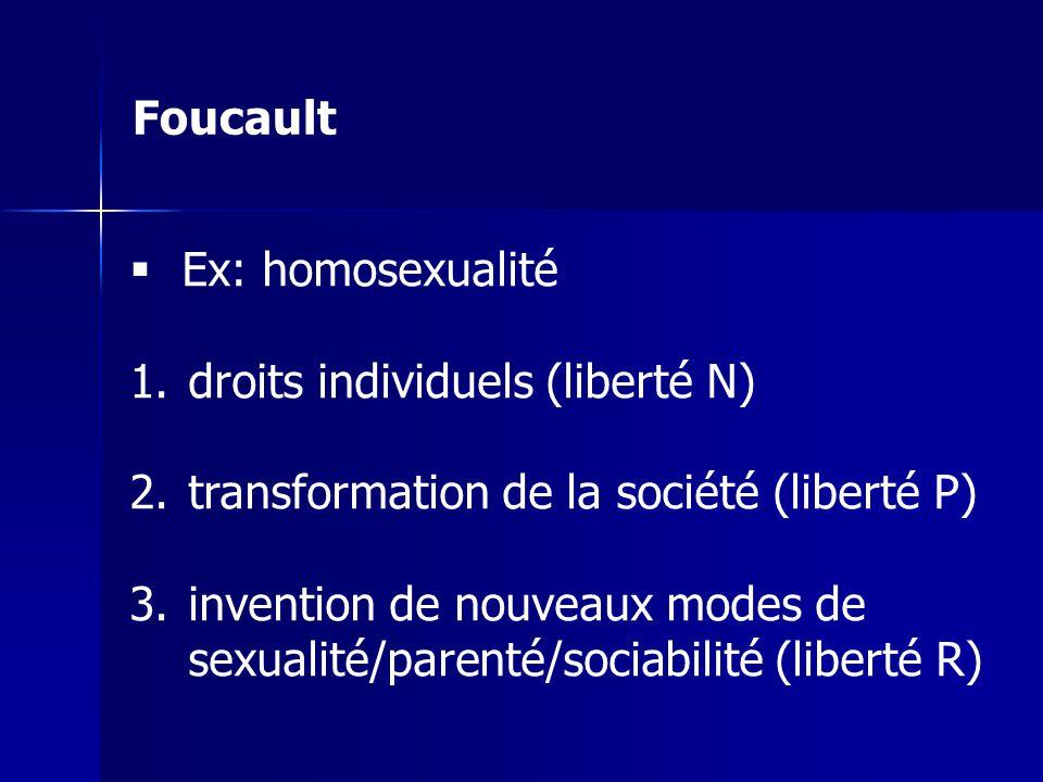 Foucault Ex: homosexualité. droits individuels (liberté N) transformation de la société (liberté P)