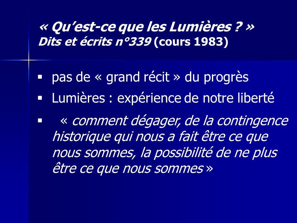 « Qu'est-ce que les Lumières » Dits et écrits n°339 (cours 1983)