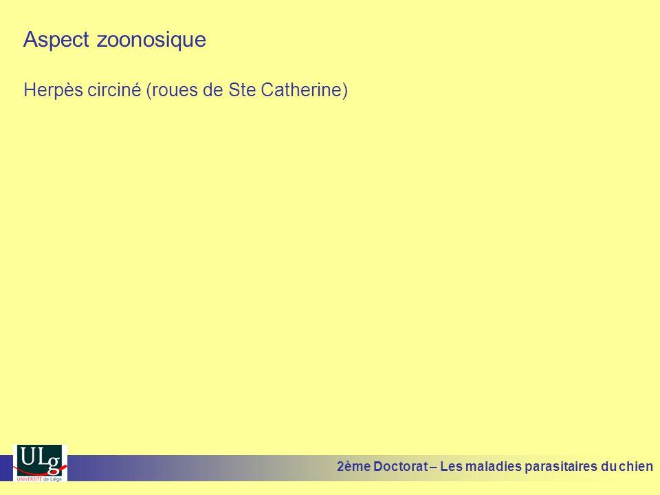 Aspect zoonosique Herpès circiné (roues de Ste Catherine)