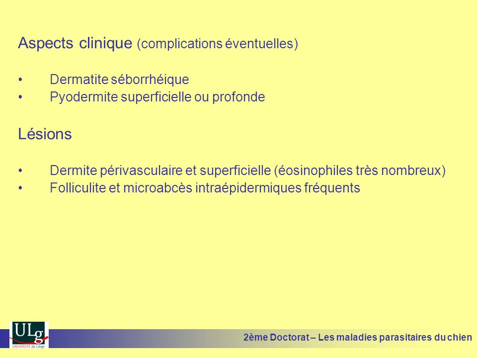Aspects clinique (complications éventuelles)