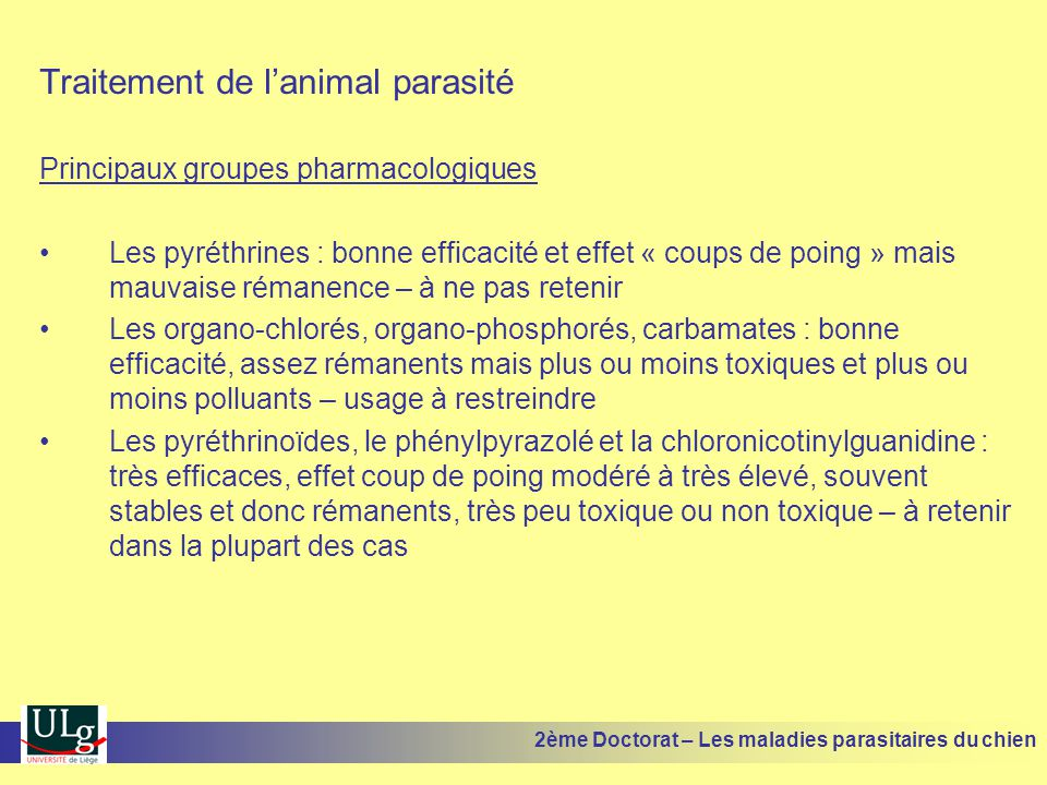 Traitement de l'animal parasité