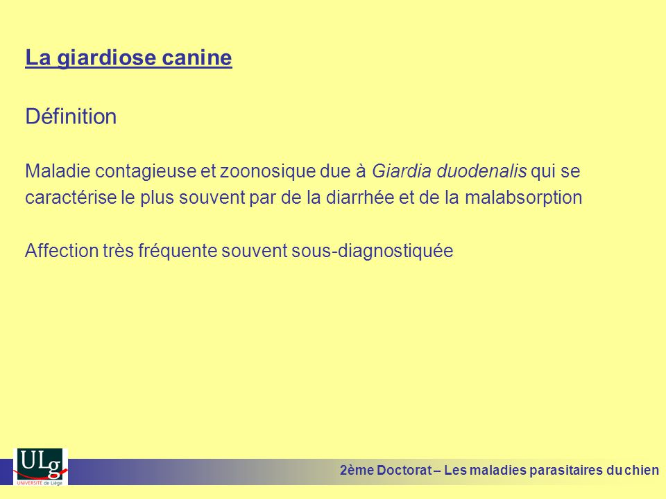 La giardiose canine Définition