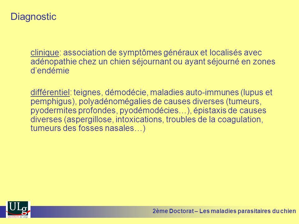 Diagnostic clinique: association de symptômes généraux et localisés avec adénopathie chez un chien séjournant ou ayant séjourné en zones d'endémie.