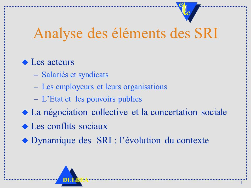 Analyse des éléments des SRI