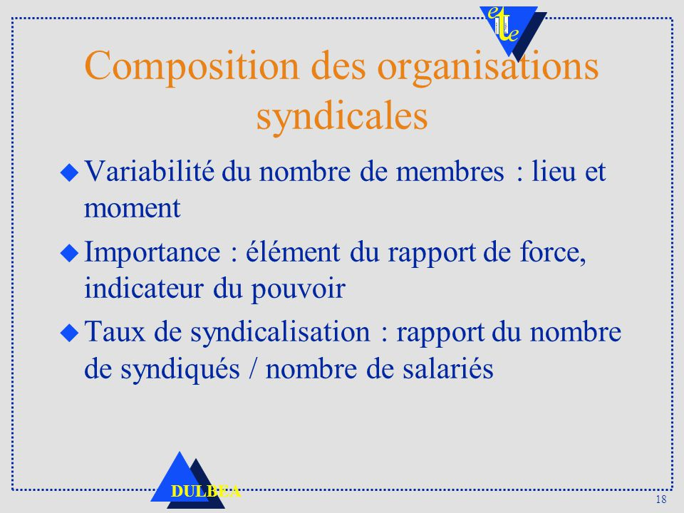 Composition des organisations syndicales
