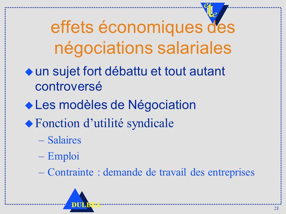 effets économiques des négociations salariales
