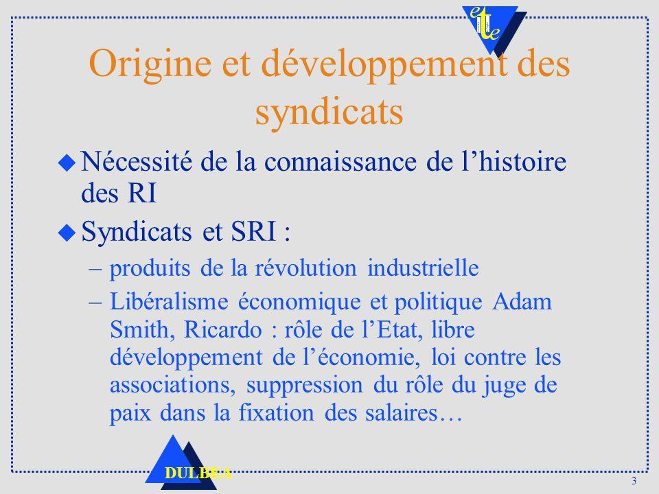 Origine et développement des syndicats