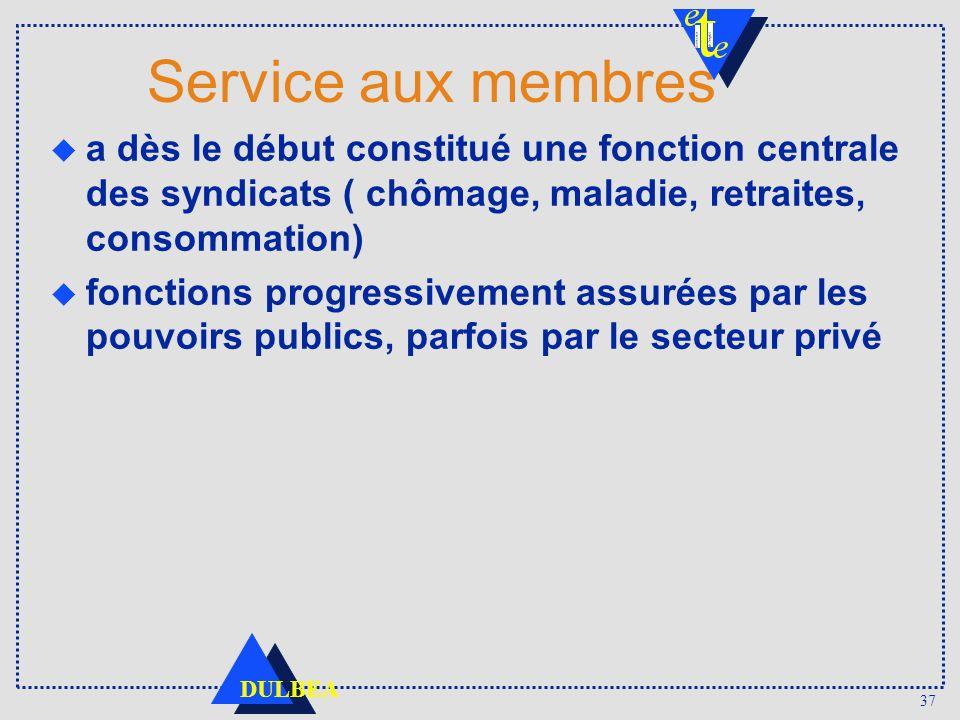 Service aux membres a dès le début constitué une fonction centrale des syndicats ( chômage, maladie, retraites, consommation)