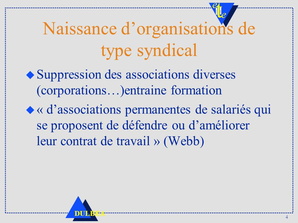 Naissance d'organisations de type syndical