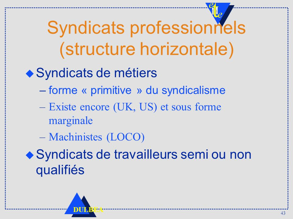 Syndicats professionnels (structure horizontale)