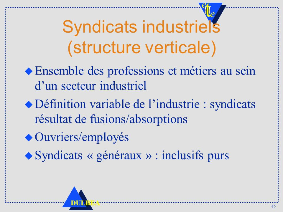 Syndicats industriels (structure verticale)
