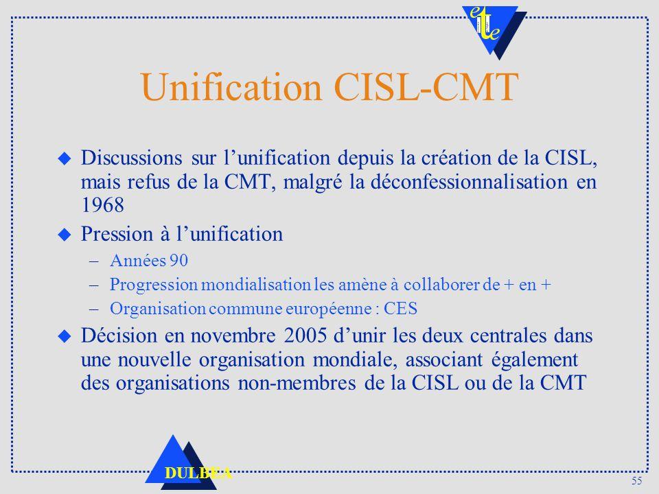 Unification CISL-CMT Discussions sur l'unification depuis la création de la CISL, mais refus de la CMT, malgré la déconfessionnalisation en 1968.