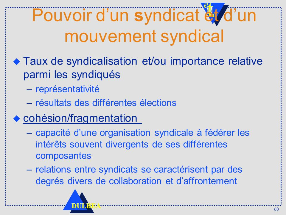 Pouvoir d'un syndicat et d'un mouvement syndical
