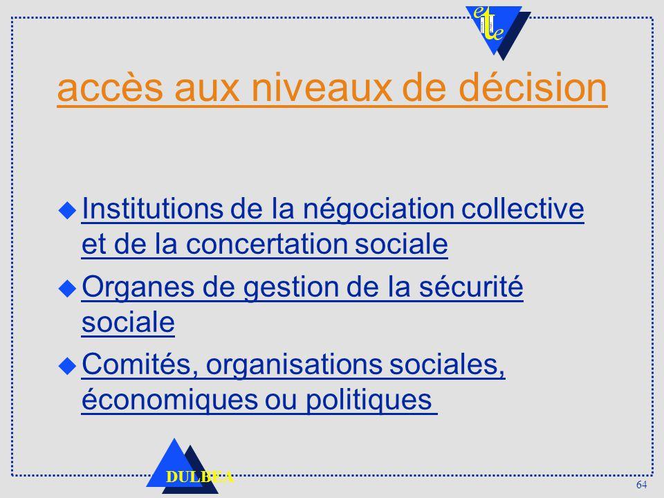 accès aux niveaux de décision