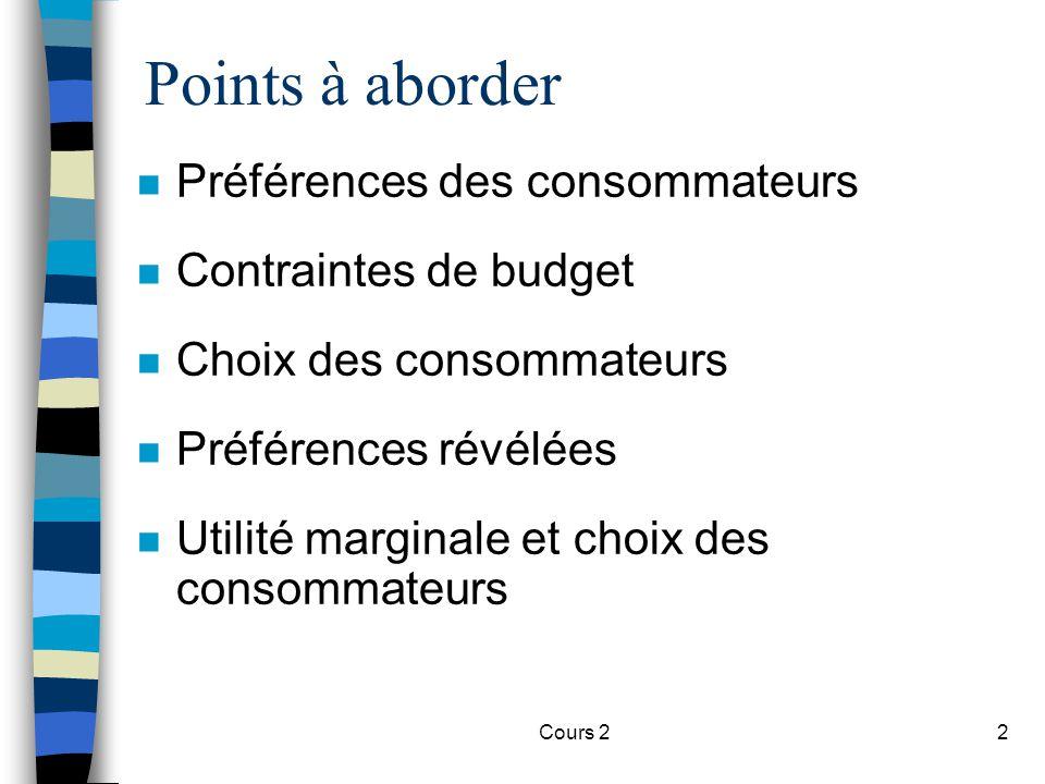 Points à aborder Préférences des consommateurs Contraintes de budget