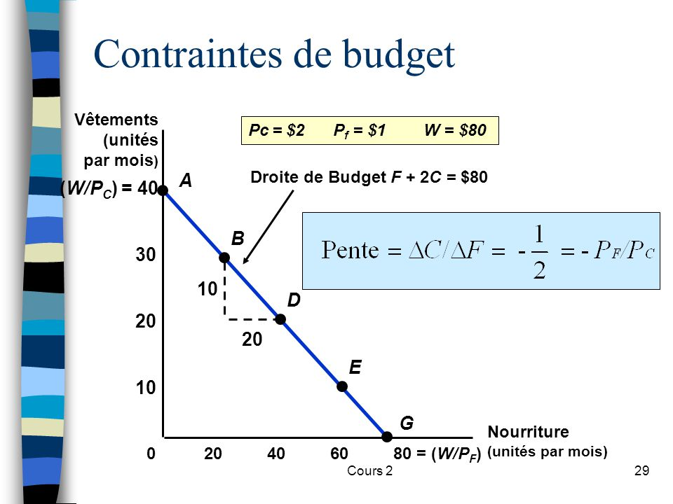 Contraintes de budget A (W/PC) = 40 B 30 10 D 20 20 E 10 G Vêtements