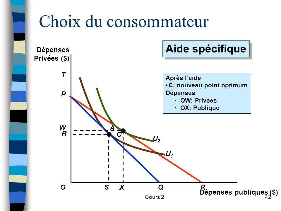 Choix du consommateur Aide spécifique Dépenses Privées ($) T U1 P R U2