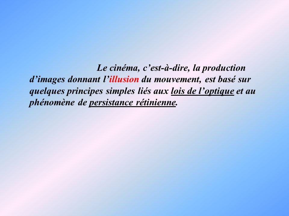 Le cinéma, c'est-à-dire, la production d'images donnant l'illusion du mouvement, est basé sur quelques principes simples liés aux lois de l'optique et au phénomène de persistance rétinienne.