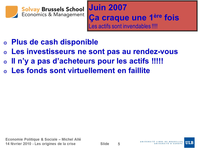 Juin 2007 Ça craque une 1ère fois Les actifs sont invendables !!!!