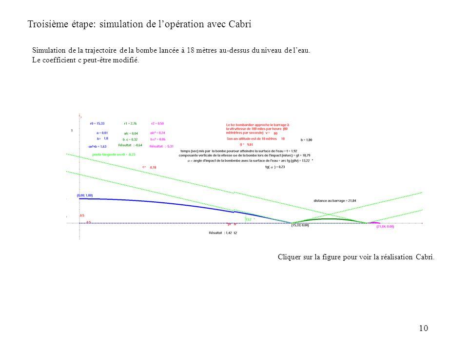 Troisième étape: simulation de l'opération avec Cabri