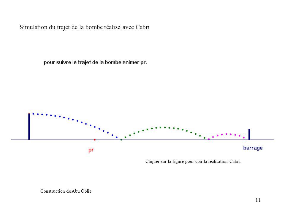 Simulation du trajet de la bombe réalisé avec Cabri