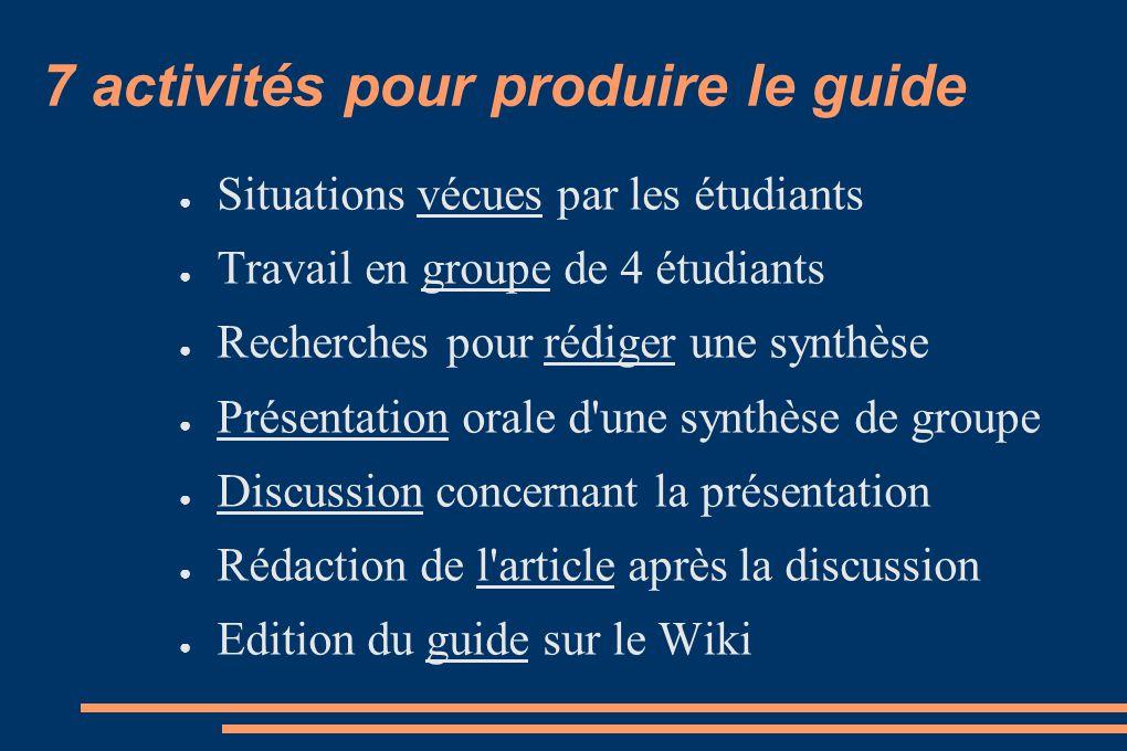 7 activités pour produire le guide