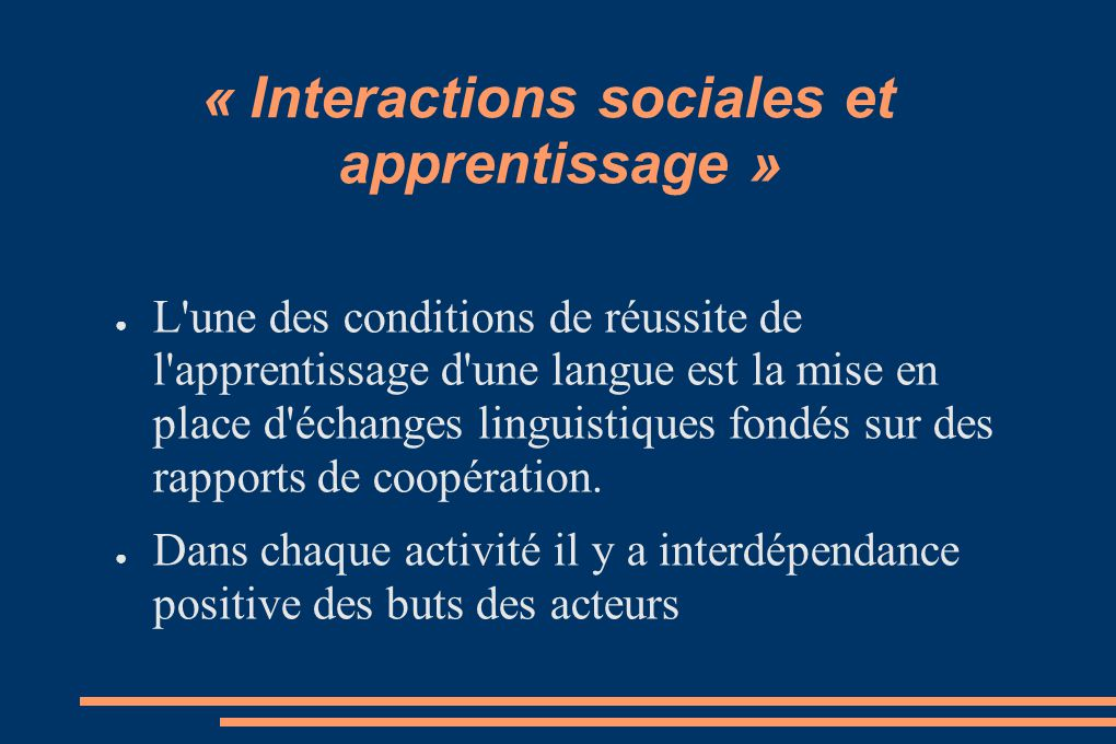 « Interactions sociales et apprentissage »