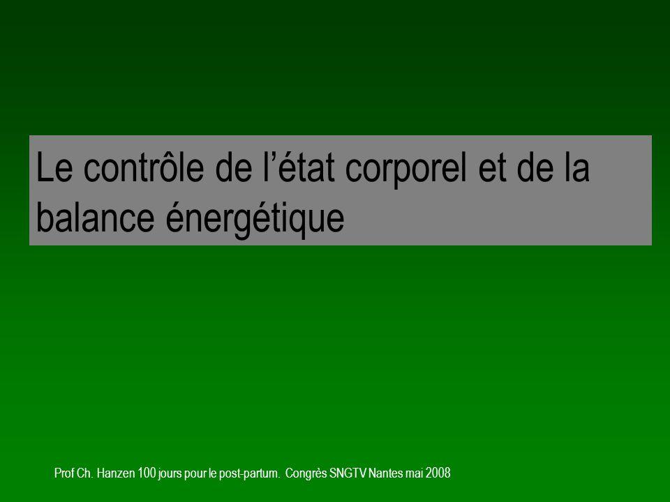 Le contrôle de l'état corporel et de la balance énergétique
