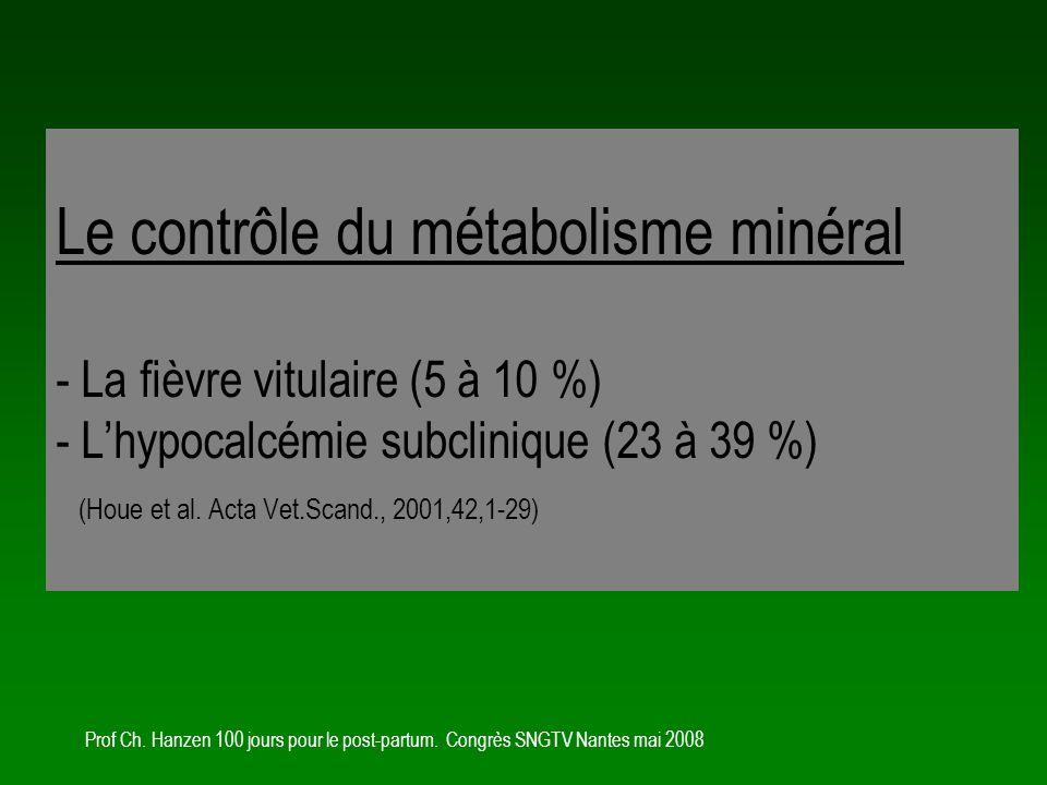 Le contrôle du métabolisme minéral - La fièvre vitulaire (5 à 10 %) - L'hypocalcémie subclinique (23 à 39 %) (Houe et al. Acta Vet.Scand., 2001,42,1-29)