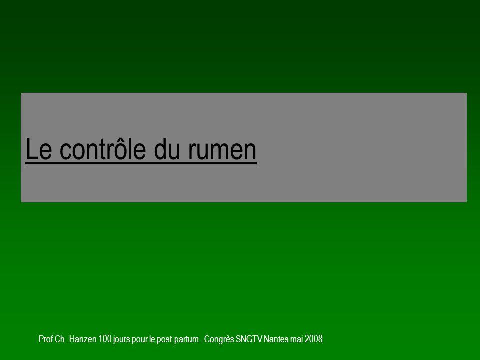 Le contrôle du rumen Prof Ch. Hanzen 100 jours pour le post-partum. Congrès SNGTV Nantes mai 2008