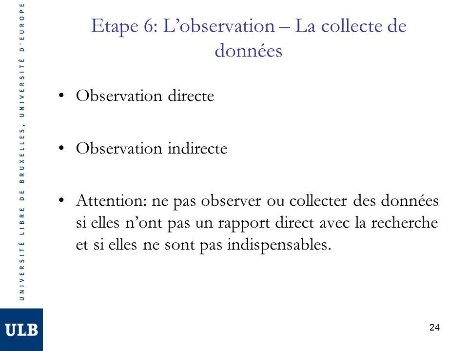 Etape 6: L'observation – La collecte de données
