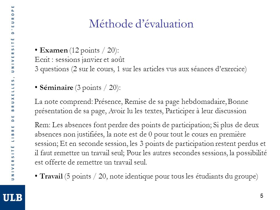 Méthode d'évaluation Examen (12 points / 20):