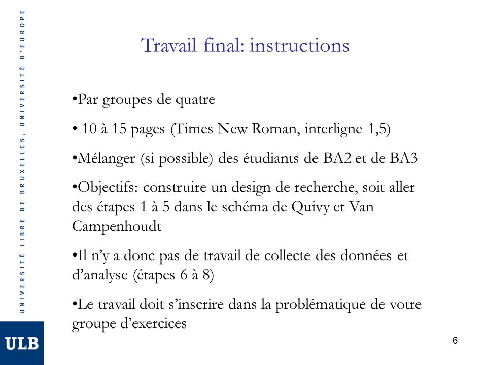 Travail final: instructions