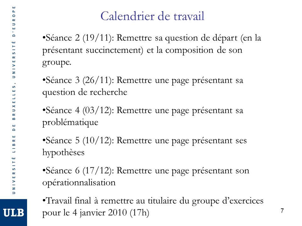 Calendrier de travail Séance 2 (19/11): Remettre sa question de départ (en la présentant succinctement) et la composition de son groupe.