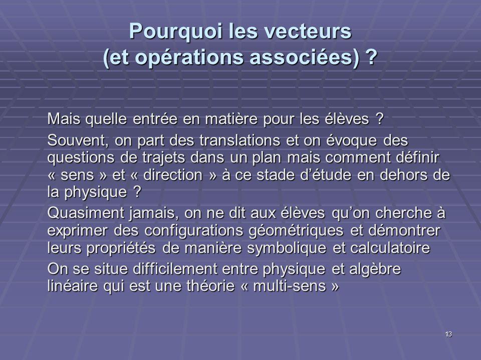 Pourquoi les vecteurs (et opérations associées)