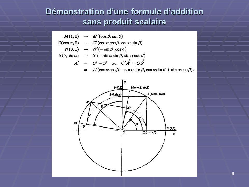 Démonstration d'une formule d'addition sans produit scalaire