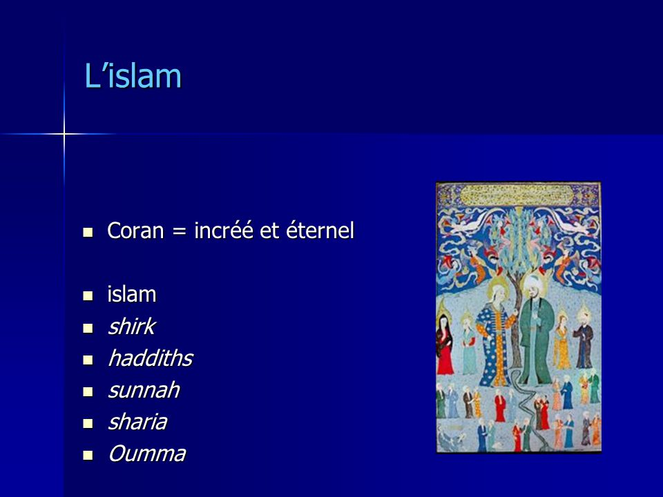 L'islam Coran = incréé et éternel islam shirk haddiths sunnah sharia
