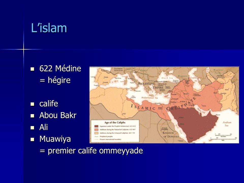 L'islam 622 Médine = hégire calife Abou Bakr Ali Muawiya